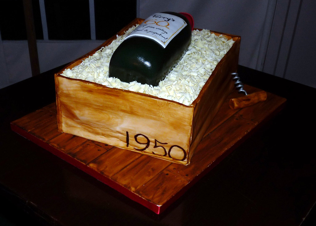60th Wine Bottle Birthday Cake