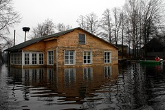 flood, building, cottage, house, reflection, disaster, home, waterway,