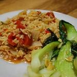 Spanish Rice (vegan), baby bok choi (vegan)