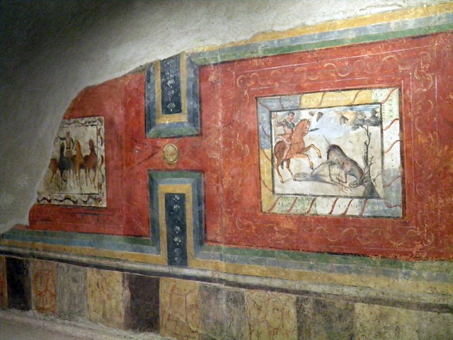 Wall painting depicting circus and huning scenes from a Roman House, National Museum of Roman Art, Augusta Emerita