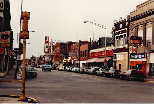Looking west from the intersection of 25th Street and Laramie Avenue. Cicero Illinois USA. June 1985. by Eddie from Chicago