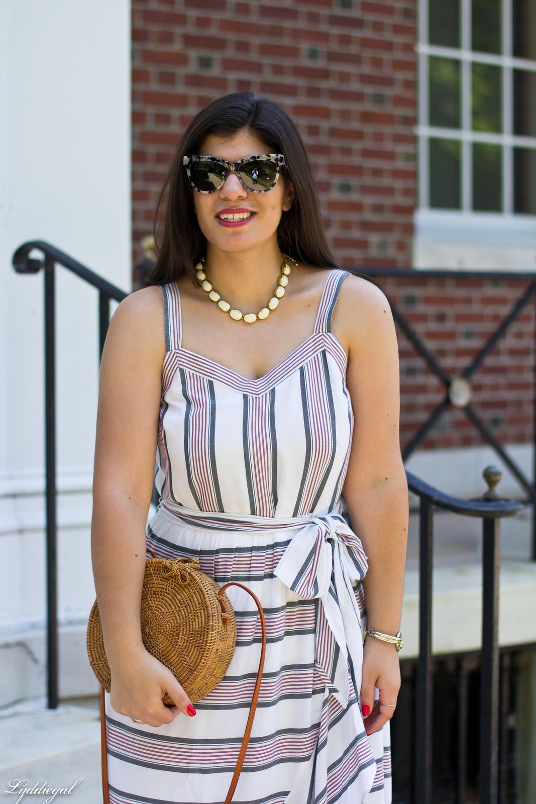 striped ruffle dress, round straw bag, white mules-4.jpg