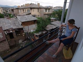 Aussicht vom Hotelbalkon in Akaltshike