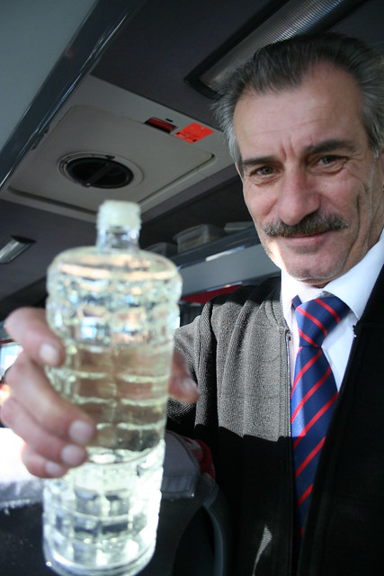 attendant distributing water on the bus, turkey