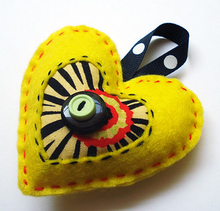 Felt Heart Ornament- Yellow Salsa
