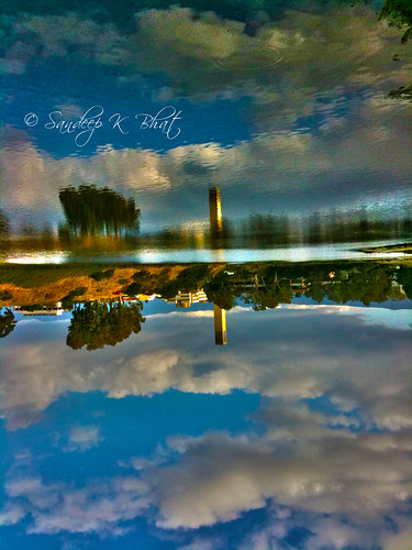 ocean sky tower clock water clouds pacific lagoon ucsb 3gs iphone storke pseudohdr