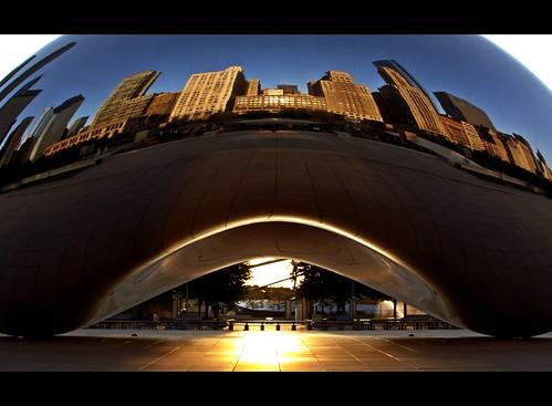 park usa cloud sun chicago reflection statue metal skyline sunrise canon rebel dawn is illinois gate empty bean millennium il usm ef xsi f4l 24105mm 450d vanagram