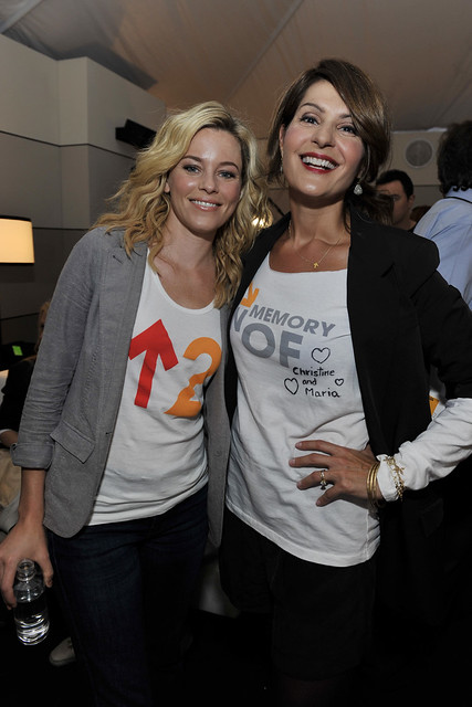 Elizabeth Banks and Nia Vardalos backstage at the 2010 Stand Up To Cancer Show.
