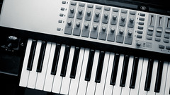 yamaha sy77(0.0), computer keyboard(0.0), string instrument(0.0), synthesizer(1.0), oberheim ob-xa(1.0), nord electro(1.0), piano(1.0), musical keyboard(1.0), keyboard(1.0), electronic musical instrument(1.0), electronic keyboard(1.0), music workstation(1.0), electric piano(1.0), digital piano(1.0), monochrome(1.0), black-and-white(1.0), analog synthesizer(1.0), electronic instrument(1.0),