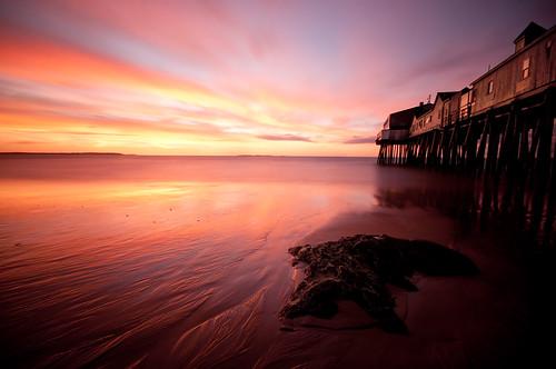 ocean old seascape beach rock clouds sunrise dawn coast pier nikon long exposure maine sigma orchard moe 1020mm chen