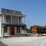 Defoe general store and trailerload of cedar posts