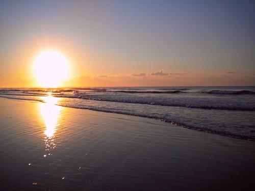 ocean sunset sun beach set clouds vintage pier nc sand waves joshua tide retro rise gragg