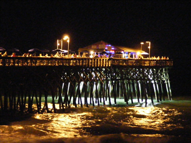 Garden City Pier At Night Myrtle Beach Sc By