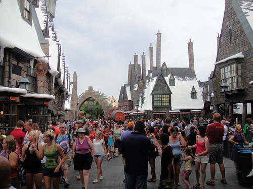 Wizarding World of Harry Potter - crowds of Muggles in Hogsmead