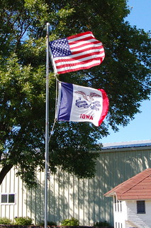United States and Iowa Flags