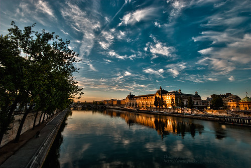 bridge sky paris france seine clouds sunrise 巴黎 75paris thierryreboton© oloneo