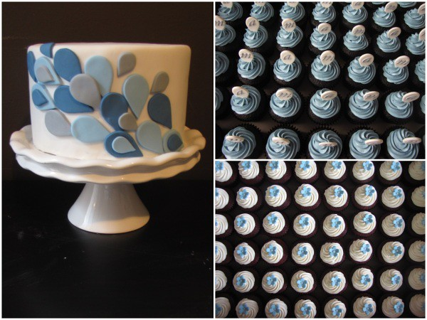 Blue and Grey Wedding Cupcakes