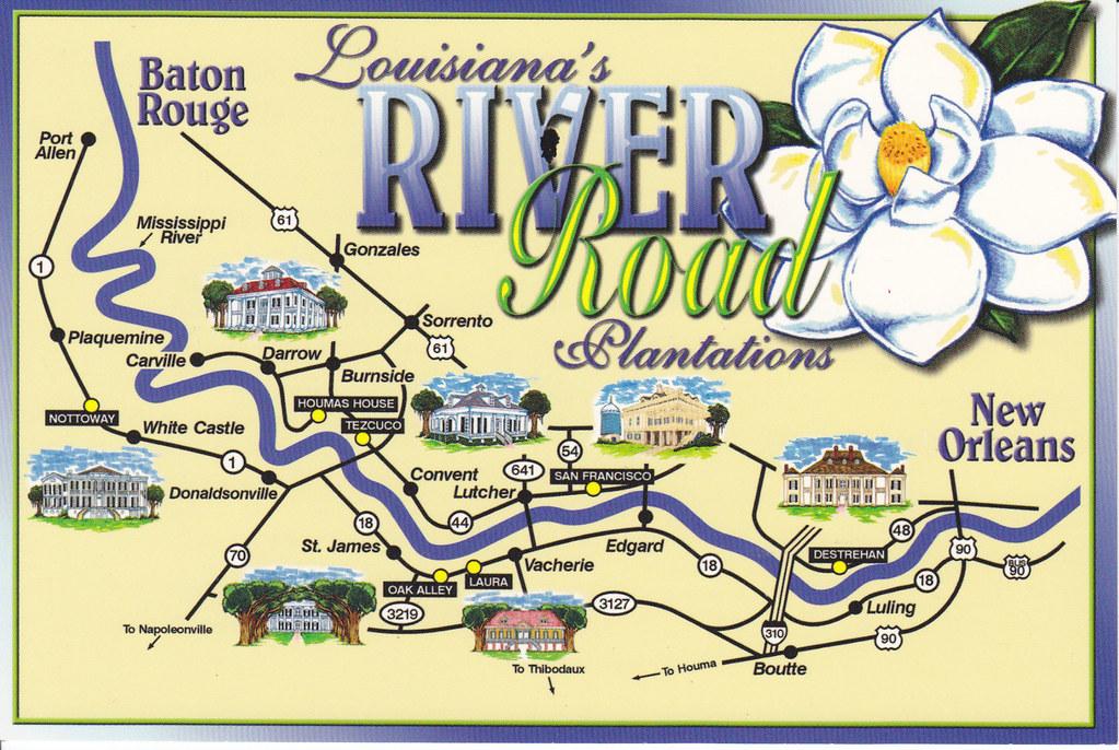 Darrow Louisiana Map.Louisiana Map River Road Plantations Postcard Private Swap Flickr