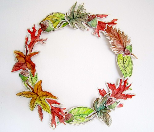 Alisaburke Paper Leaves Fall Wreath Tutorial