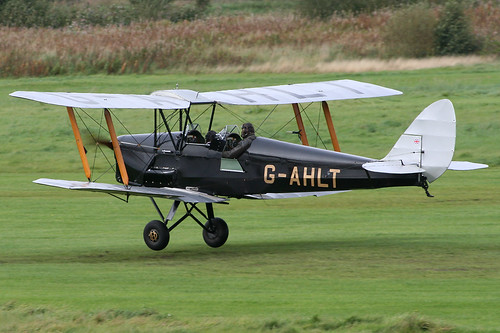 G-AHLT - 1939 build De-Havilland DH82A Tiger Moth, departing Barton