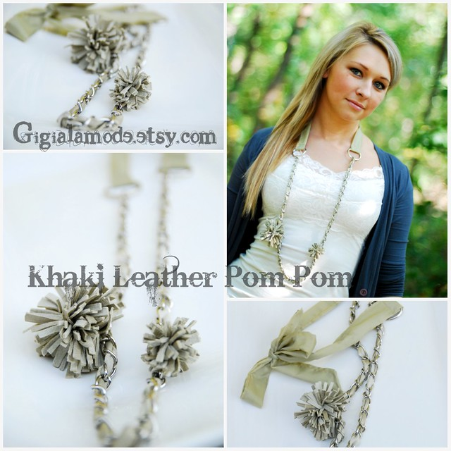 Khaki Leather Pom Pom Necklace
