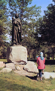 Color postcard of Sakakawea statue on capital grounds