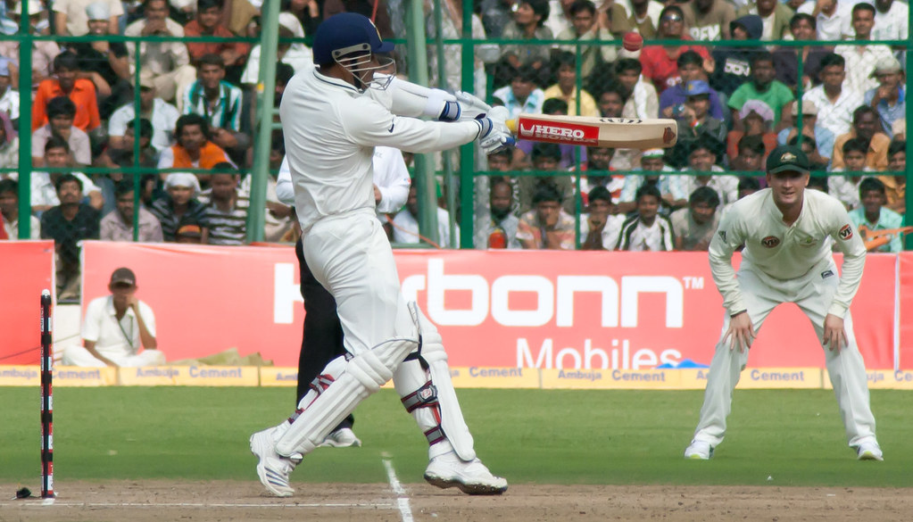 Sehwag plays a shot
