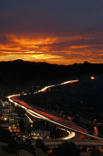 sky orange cars clouds sunrise lights lafayette traffic overpass freeway commute 24 eastbay lighttrails walnutcreek alamo 680 contracostacounty