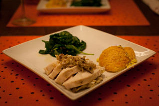 Sous Vide Chicken Breast with Truffle Butter, Corn Pudding and Wilted Spinach | by phy5ics