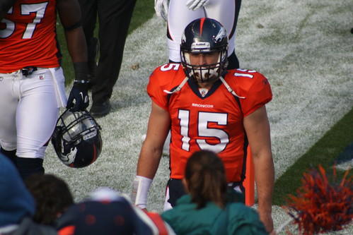 Tim Tebow approching the tunnel to the locker room ..