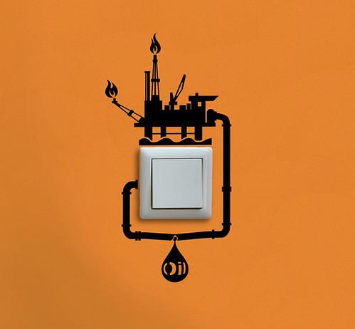 Oil Spill Reminder Light Switch wall sticker by Hu2 Design