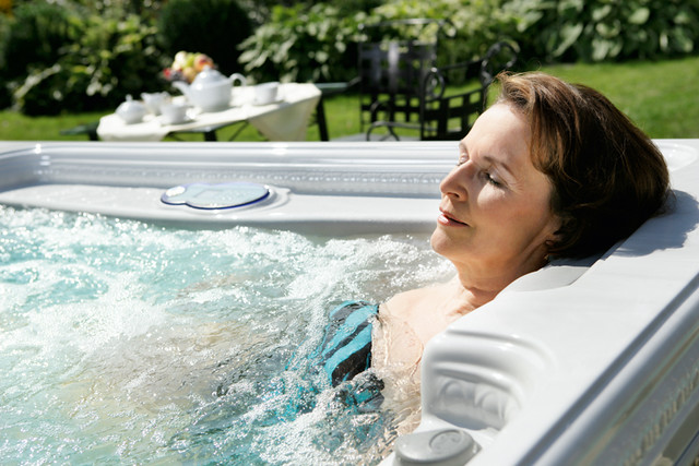 Hot Tub Mature Woman Relaxing Hydrotherapy - Artesian Spas Island