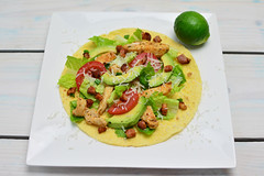 Tortilla with chicken and Avocado and Tomatoes