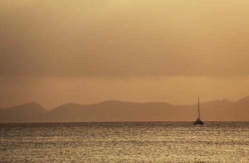 trip travel sunset sea beach nature landscape spain europe moments mood perspectives places catamaran mallorca palma springtime sailingship particulars
