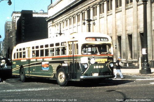 Historic photo! Chicago Motor Coach Company GMC 35 foot transit bus #3869 passing Chicago Union Station. Chicago Illinois. October 1953. by Eddie from Chicago