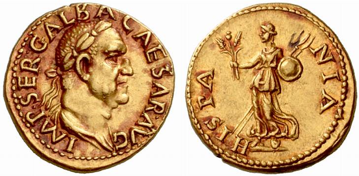 A Rare and Important Roman Gold Aureus of Galba (68-69 C.E.), from the Boscoreale Hoard