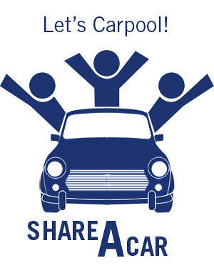 Let's Carpool cartoon sign