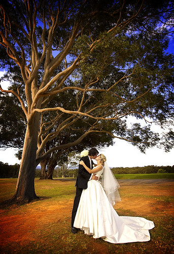 Bride and groom kissing under a tree.
