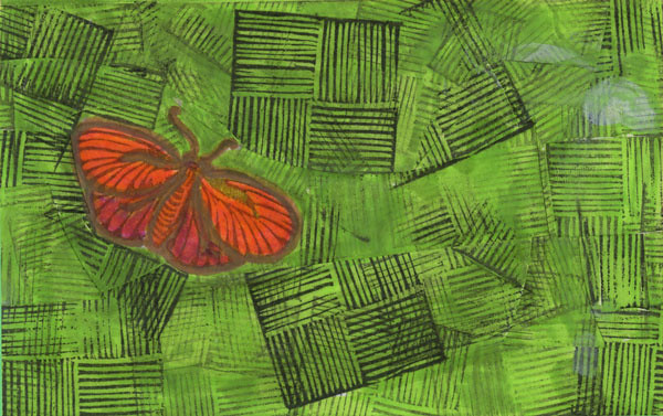 Orange Butterfly - Green Grid