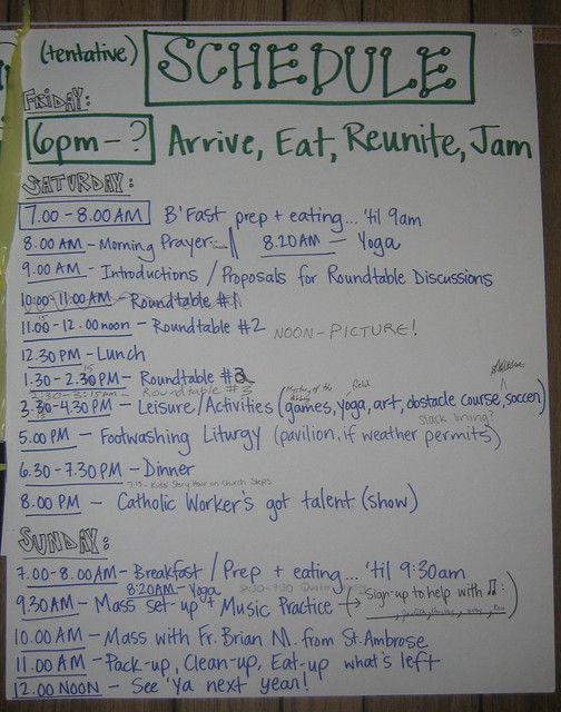 2010 Sugar Creek - Schedule for Gathering