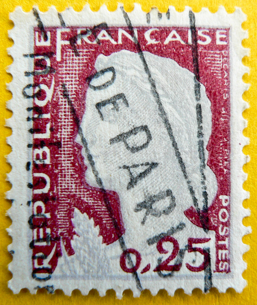 "beautiful french stamp France 0.25 timbres Francaise Frankreich Briefmarken Marianne ""Decaris"" Postes Republique Francaise ""de Paris"" 0,25c RF selo sellos francobolli"