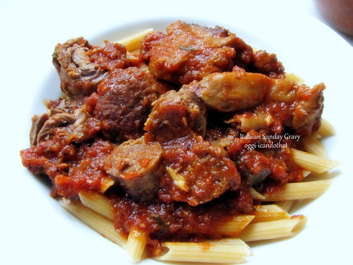 Italian Sunday Gravy and Meat on Penne