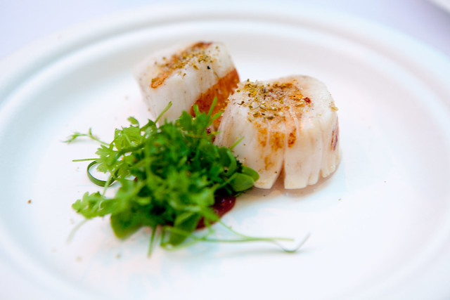 Scallops with smoked stone fruit emulsion, licorice herbs by James Syhabout of Commis, Oakland, CA
