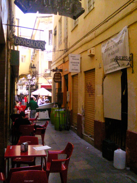 Cafe alley in Malaga, Spain