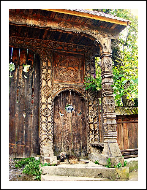Traditional wood-carved gate