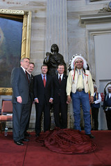 Replica Statue unveiling, Senator Byron Dorgan, Governor John Hoeven, Senator Kent Conrad, Representative Earl Pomeroy, Three Affiliated Tribes Chair Tex Hall