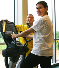 Picture of students working out on equipment