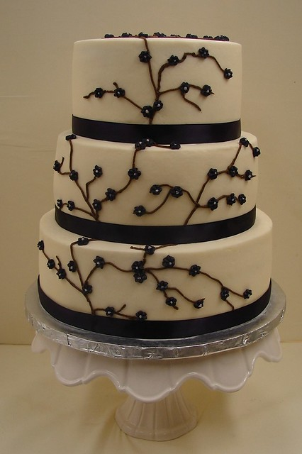 Branch and Flower Wedding Cake in Deep Purple