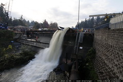 after the rainstorm   lake oswego dam in mid repair