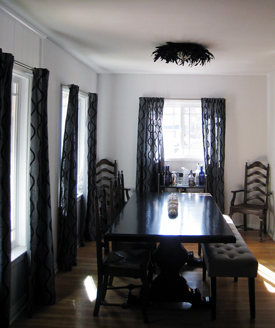 dining room table with bench bar feather light fixture